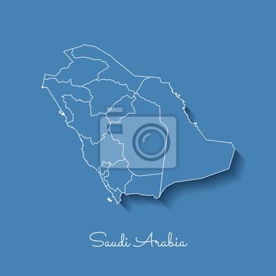 Mappa Della Regione Arabia Saudita Azzurro Con Contorno Bianco