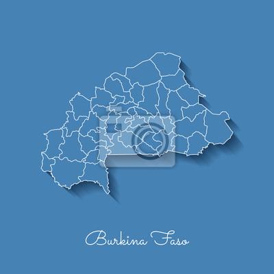 Mappa Della Regione Del Burkina Faso Azzurro Con Contorno Bianco