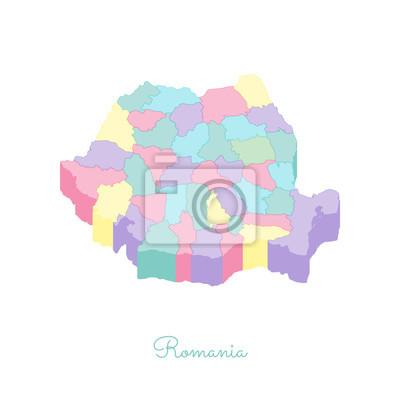 Cartina Dettagliata Romania.Mappa Della Regione Di Romania Colorato Vista Superiore Isometrica Manifesti Da Muro Poster Rumeno Voglia Di Girovagare Infografica Myloview It
