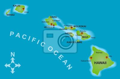 Cartina Mondo Hawaii.Mappa Delle Hawaii Manifesti Da Muro Poster Vista Dall Alto Riassunto Logistica Myloview It