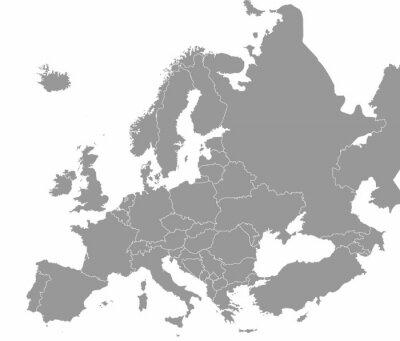 Poster Mappa di alta qualità Europa con i confini delle regioni