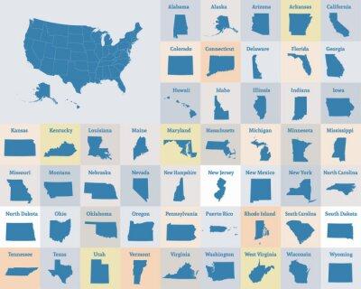 Poster Mappa muta degli Stati Uniti d'America. Stati degli Stati Uniti. Vettore.