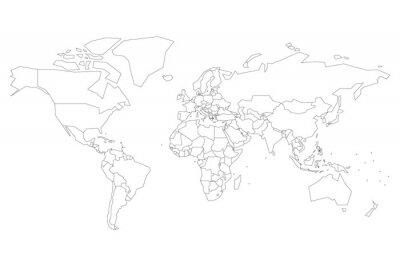 Poster Mappa politica del mondo con punti invece di piccoli stati. Mappa vuota per il quiz scolastico. Profilo sottile nero semplificato su sfondo bianco.