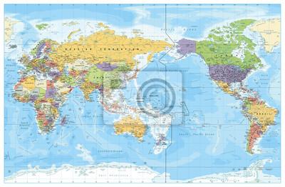 Poster Mappa politica mondiale centrata sul Pacifico. Paesi e capitali, città, confini e oggetti acquatici, contorno dello stato. Mappa del mondo dettagliata illustrazione vettoriale.