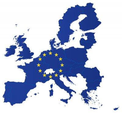 Poster Mappa unione dell'Europa con la bandiera