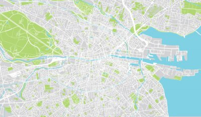 Poster Mappa urbana urbana di Dublino, Irlanda