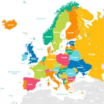 Poster Mappa vettoriale colorato dell'Europa