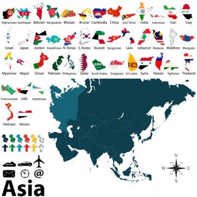 Poster Mappe politiche dell'Asia