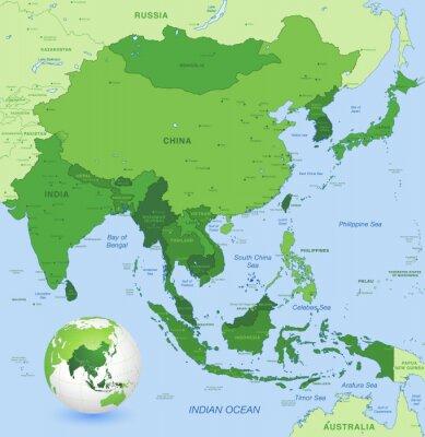 Poster Massime dettaglio vettore carta dell'Asia Estremo Oriente