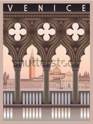 Poster Mattina presto a Venezia, Italia. Modello di viaggio o cartolina postale. Tutti gli edifici sono oggetti diversi. Disegno a mano illustrazione vettoriale. Stile vintage.