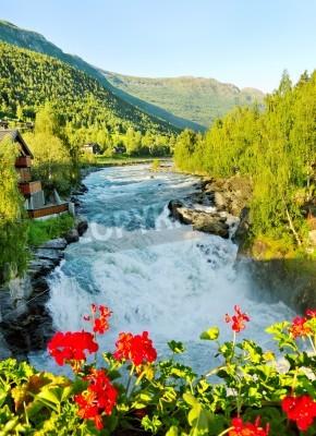 Poster Mattina sul fiume Bovra in Norvegia.