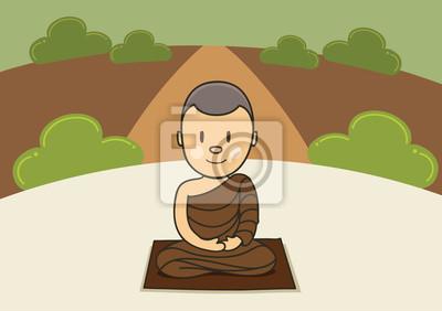 Poster meditazione monaco nella foresta