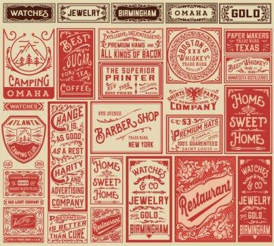 Poster Mega Pack retrò pubblicità disegni e le etichette - Vector illust