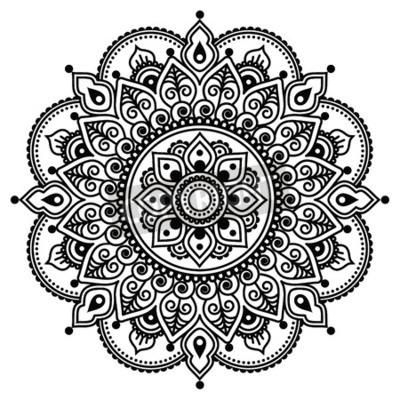 Poster Mehndi, indiano Henna tatuaggio modello o di sfondo