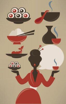 Poster Menù giapponese, cibo vettore di raccolta in stile piatto