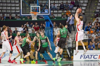 Poster Michael Roll of Zaragoza in action at Spanish Basketball League match between Joventut and CAI Zaragoza, final score 82-57, on April 13, 2014, in Badalona, Spain