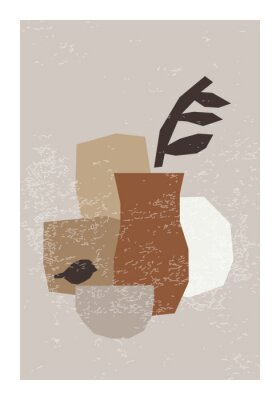 Poster Minimal wall art poster with abstract organic shapes composition in trendy contemporary collage style
