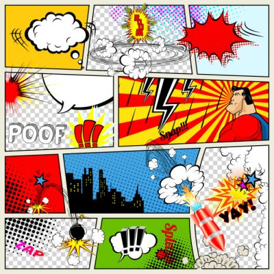 Poster Modello Comics. Vettore Retro Comic Book Speech Bubbles