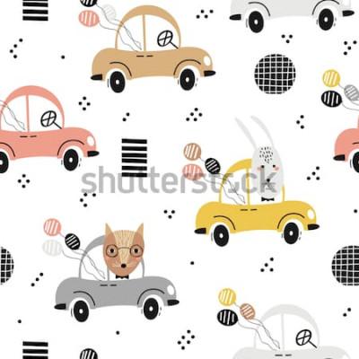 Poster Modello di bambino senza soluzione di continuità con volpe carina, coniglio in macchina. Trama di bambini creativi per tessuto, tessuto, carta da parati e avvolgimento. Illustrazione vettoriale