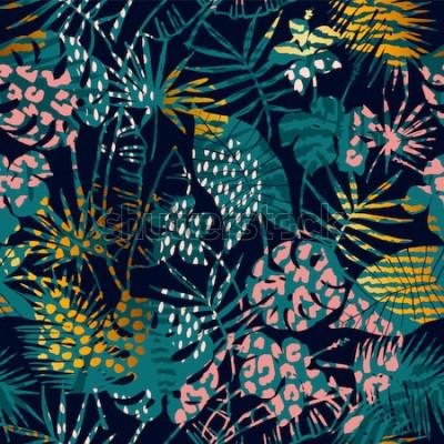Poster Modello esotico senza cuciture alla moda con piante tropicali e stampe animalier. Illustrazione vettoriale Disegno astratto moderno per carta, carta da parati, copertina, tessuto, arredamento d'in