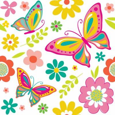 Poster modello molla con cute farfalle adatto per carta da regalo o di sfondo carta da parati. EPS 10 e HI-RES JPG Incluso