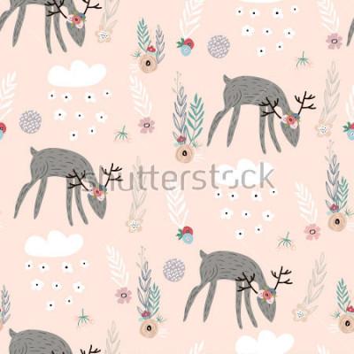 Poster Modello senza cuciture con cervi, elementi floreali, rami. Sfondo creativo del terreno boscoso Perfetto per abbigliamento per bambini, tessuto, tessile, decorazione vivaistica, carta da imballaggio. I