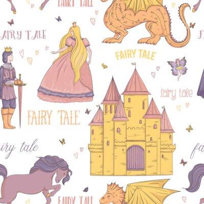 Poster Modello senza cuciture con principe, principessa, castello, drago, fata, cavallo. Tema fiaba. Oggetti isolati Illustrazione vettoriale vintage