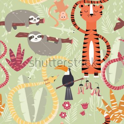 Poster Modello senza cuciture con simpatici animali della foresta pluviale, tigre, serpente, bradipo, illustrazione vettoriale