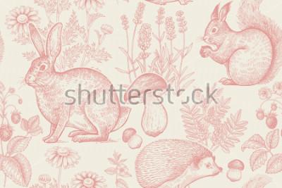 Poster Modello senza cuciture degli animali e delle piante della foresta. Lepre, riccio, scoiattolo, bacche di fragola, fiori di lavanda, camomilla e funghi. Disegno a mano Bianco e rosso Incisione d'epo