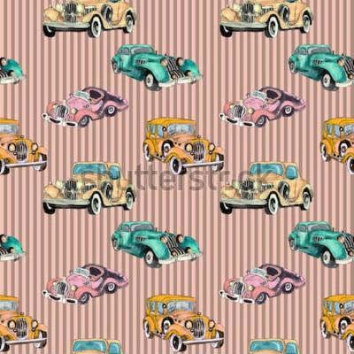 Poster Modello senza cuciture della retro automobile d'annata variopinta artistica disegnata a mano dell'acquerello
