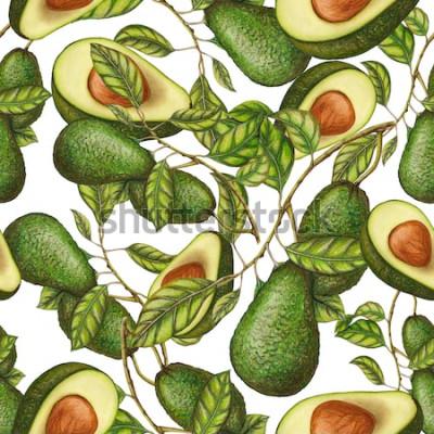Poster Modello senza cuciture di avocado disegnato a mano