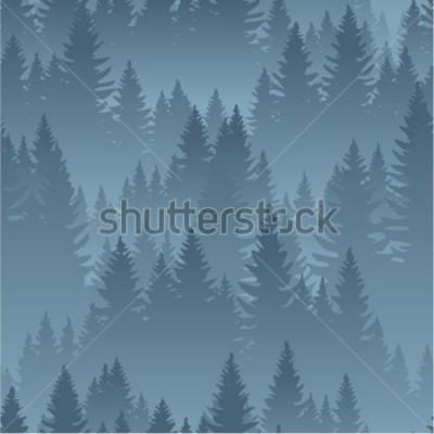 Poster modello senza cuciture di struttura del fondo della foresta delle montagne di vettore
