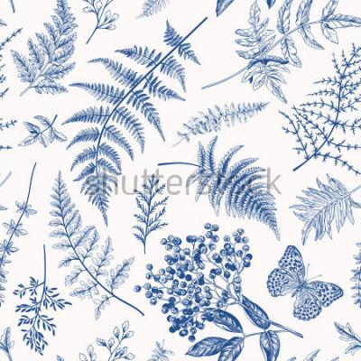 Poster Modello senza cuciture floreale in stile vintage. Varie foglie di felci, bacche e farfalle. Illustrazione botanica vettoriale Blu.