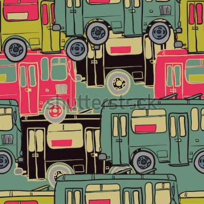 Poster Modello senza cuciture tessile di autobus colorati