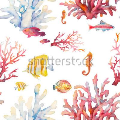 Poster Modello senza protezione della barriera corallina dell'acquerello. Disegno tropicale disegnato a mano della priorità bassa: pesci tropicali, coralli, cavalluccio marino su priorità bassa bianca. N / A