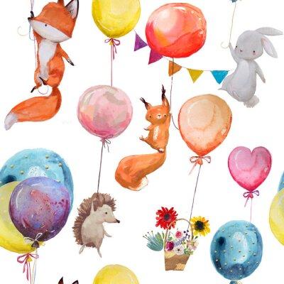 Poster Modello senza saldatura con gli animali con palloncini