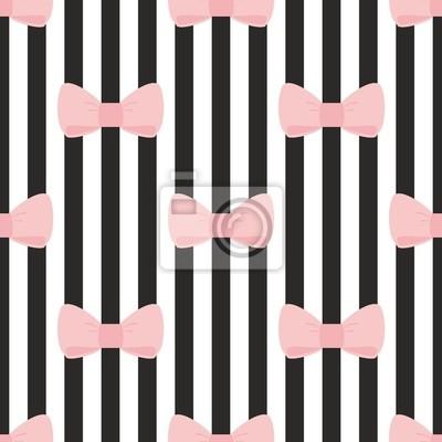 Modello Tile Vettore Fiocco Rosa Su Sfondo Bianco E Nero Manifesti