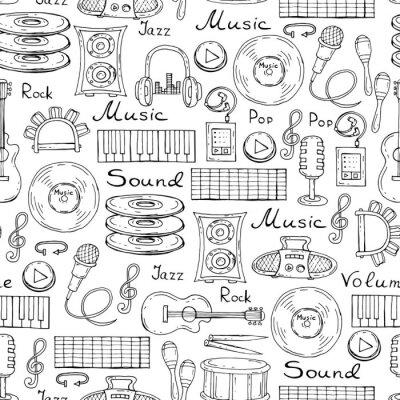 Poster Modello vettoriale con simboli disegnati a mano di musica sul colore bianco