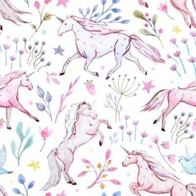 Poster Modello vettoriale unicorno acquerello