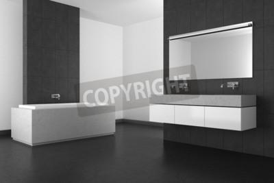 Moderno bagno con doppio lavabo piastrelle grigie e pavimento