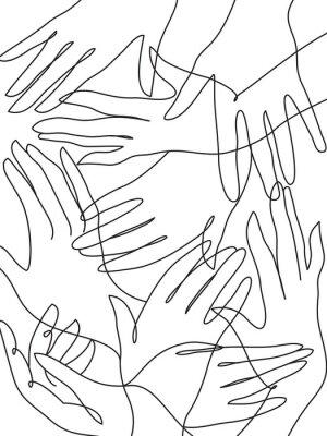 Poster Molte mani disegno al tratto
