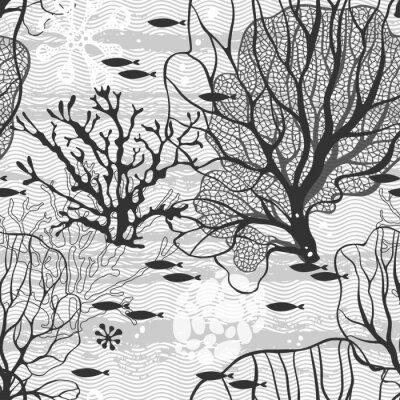 Poster mondo sottomarino. Illustrazione con le piante marine e pesci