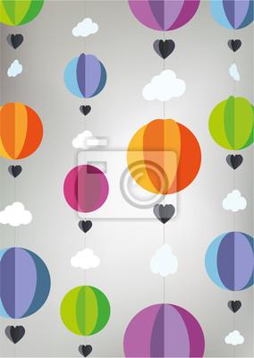 Mongolfiere Di Carta.Poster Mongolfiere Di Carta Con Le Nuvole E Il Cuore Culla Mobili