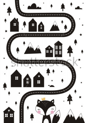 Poster Monochrome Scandinavian vector maze. Cartoon roads with house, tree and car for kids. Vector maze cartoon poster. You can use it to print on the carpet for the decor of the children's room.