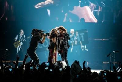 Poster MOSCA, RUSSIA - 24 maggio 2014 - rock band Aerosmith Amerocan effettua al Olimpiysky il 24 maggio 2014 a Mosca