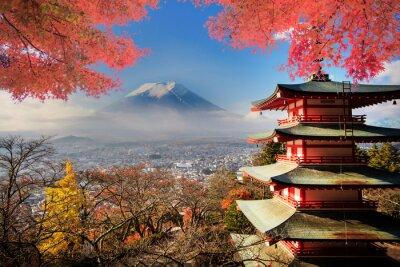 Poster Mt. Fuji con la caduta colori in Giappone.
