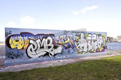Poster Muro di graffiti a Amsterdam nei Paesi Bassi