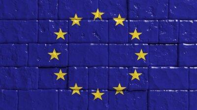Poster Muro di mattoni con bandiera dipinta dell'Unione Europea