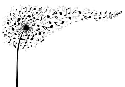 Poster music dandelion flower, vector illustration