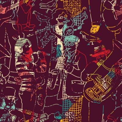 Poster musica di colore Jazz Band seamless.